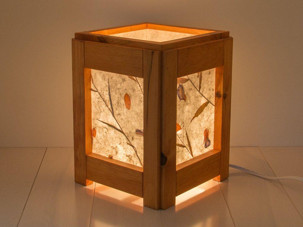 Wood Lamp Reclaimed Lighting Bedroom Table Living Room Desk Zen Wooden Pine By Eazen