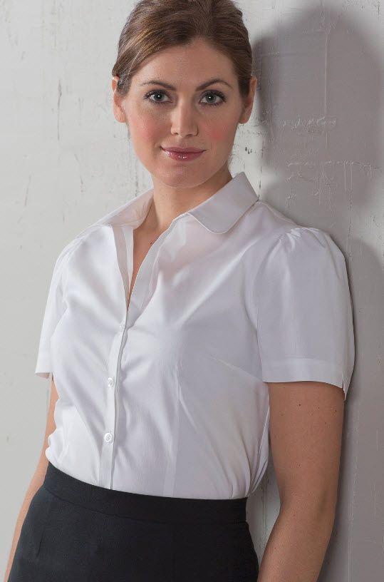 3796875af33 Smart looking fitted front desk blouse. Ladies Front Desk Open Neck Short  Sleeve ...