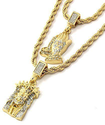 Mens Gold Two Piece Iced Jesus Prayer Hand Set Pendant https