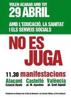Manifestación el 29 de abril en Alicante, Castellón y Valencia en defensa de la educación, la sanidad y los servicios públicos.