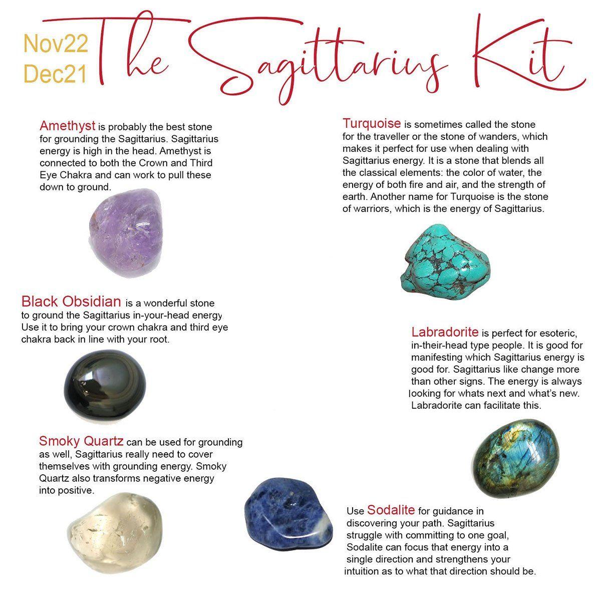 The Sagittarius Kit In 2020 Amethyst Tumbled Sagittarius Turquoise Healing