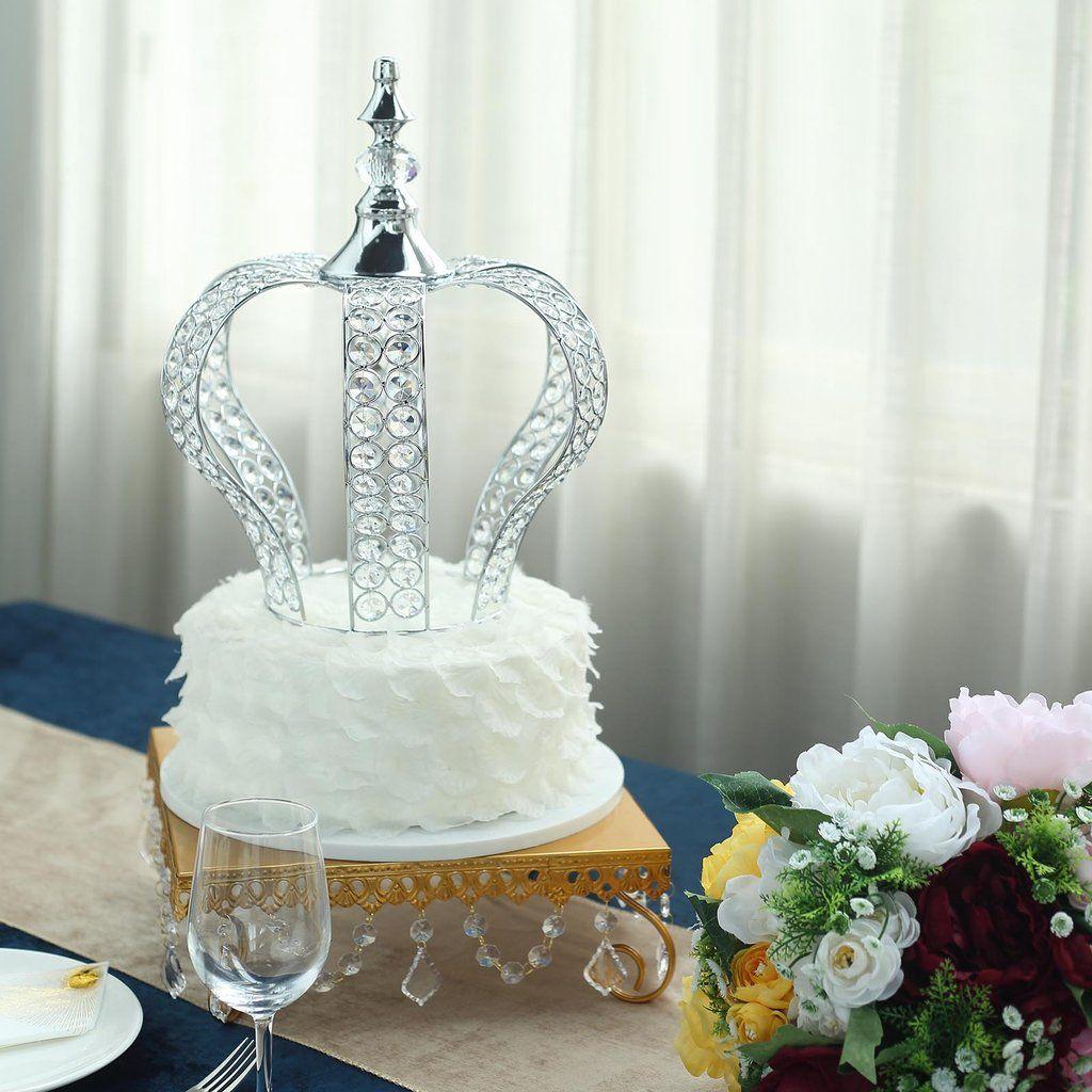 14 silver crystal metallic royal crown cake topper