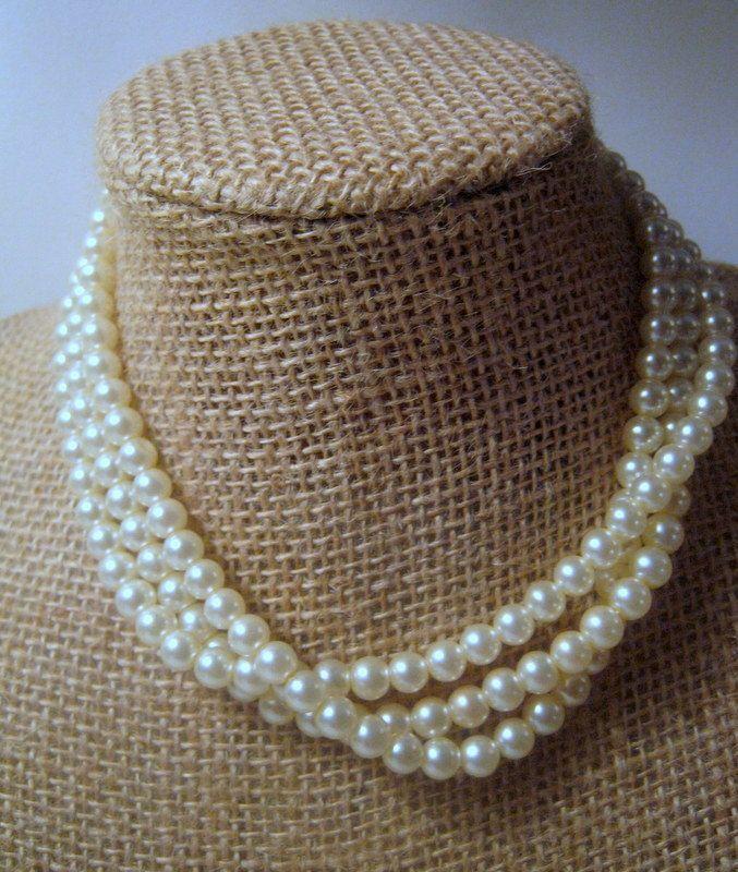 Vintage Faux 3 Strand Pearl Necklace Weddings Vintage Costume
