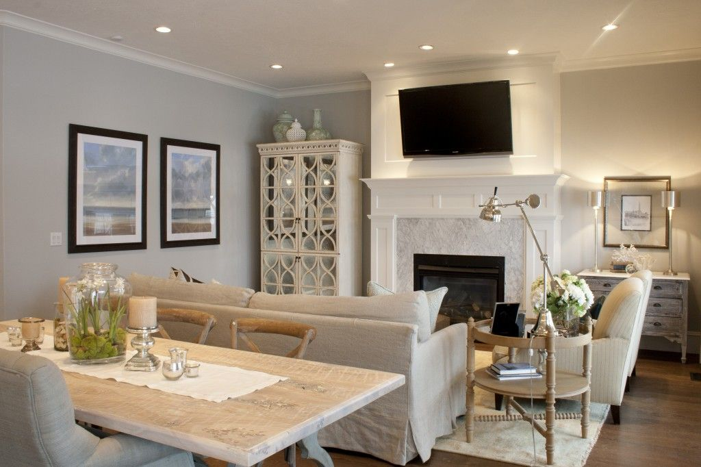 Love The Kitchen Dining Family Room Combo And Flow Of It All Pale Colors