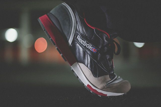Highs & Lows x Reebok Classics LX 8500 | Tags: sneakers, low-tops, suede, black, gray, slate, red, joggers, on feet