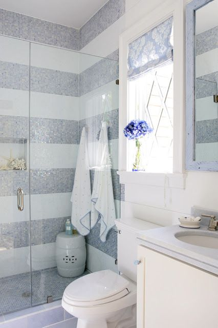 Love the tile stripes and Chinese seat in shower