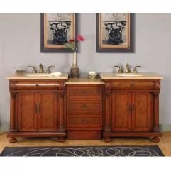82 5 Inch Light Brown Double Sink Vanity With Led Lighting Double Sink Vanity Double Sink Cabinet Double Vanity Bathroom