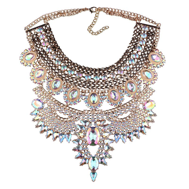 ddb96ee6e6f6 Luxury Colorful Crystal Diamond Pendant Statement Necklace Chunky Chokers  Collar Women Jewelry