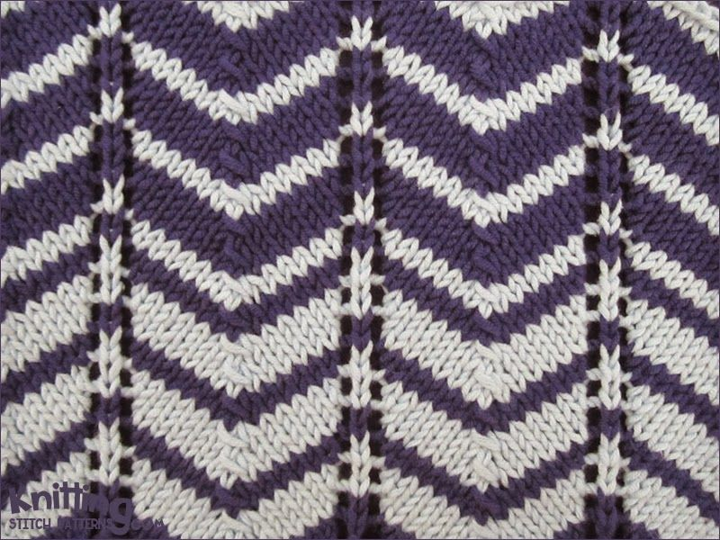Knitting Stitches Two Color : Two-color Chevron pattern is work over a multiple of 12 stitches plus 1. Easy...