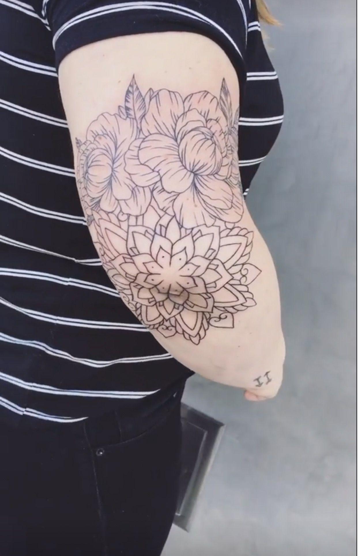 Peonies And Mandala Elbow Outline My Tattoos Tattoos Mandala