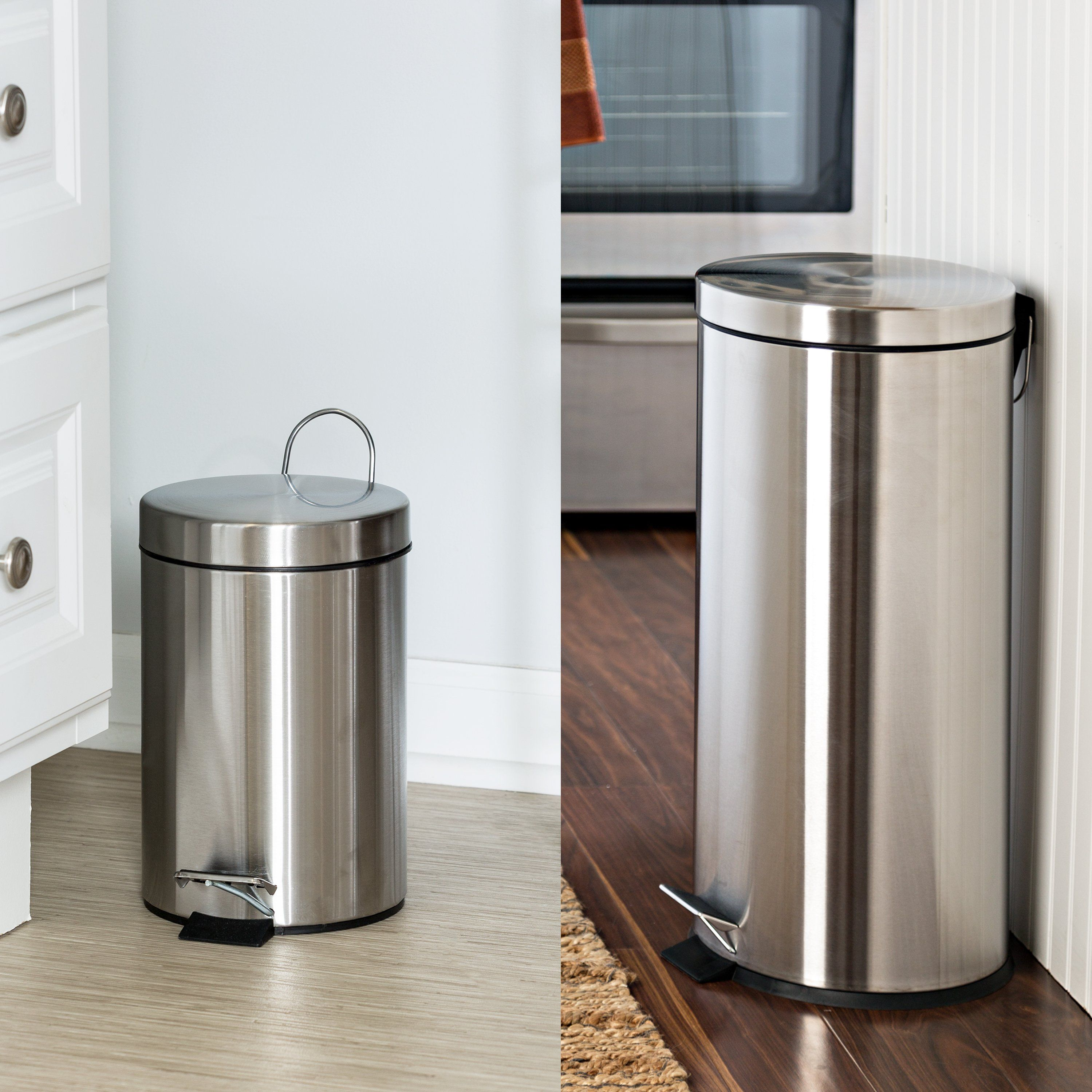 Stainless Steel Step Trash Can With Lid Set Of 30l And 3l Trash Can Kitchen Trash Cans Stainless Kitchen Stainless steel kitchen trash can