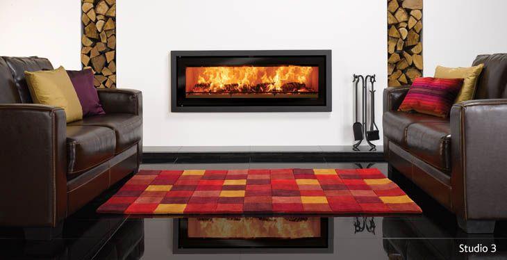 Riva Studio Profil Inset Wood Burning Fires Stovax Fires Cozy Living Room Design Fireplace Design Living Room Tiles