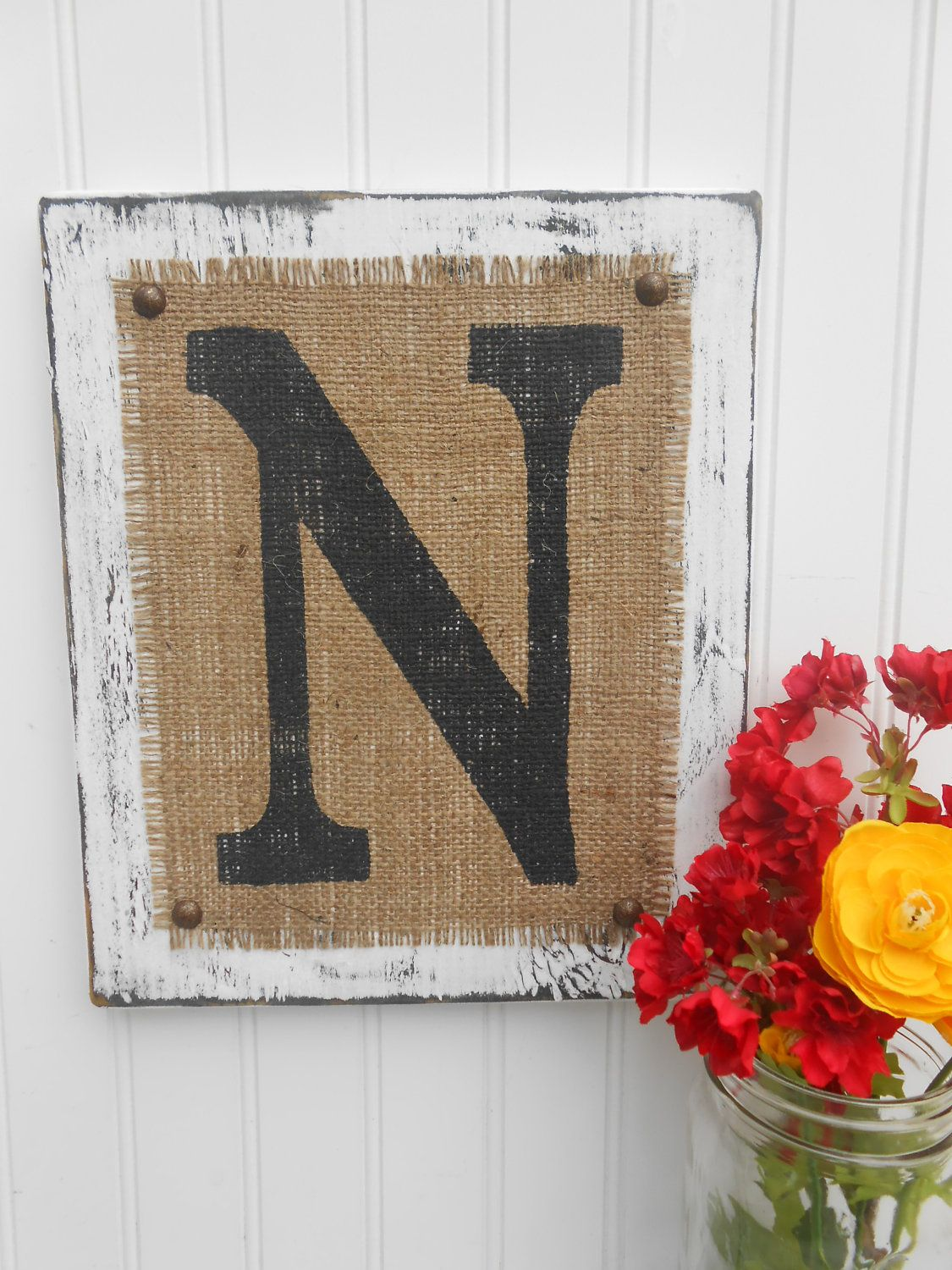 Rustic wedding burlap sign reception decoration Monogram