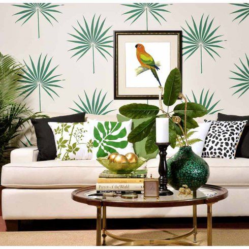 Palm Leaf Tropical Wall Stencil - trendy stencils for DIY home ...