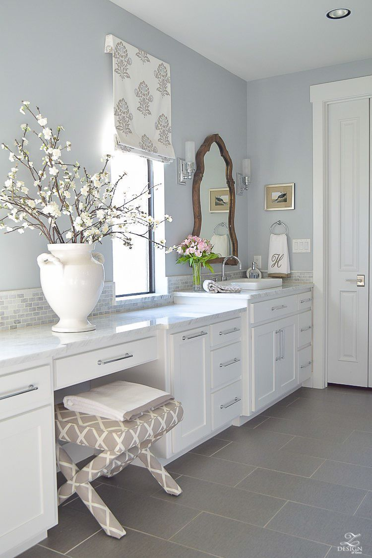 Transitional White Bathroom White Cabinets Carrara Marble Counter Tops Benjamin Moore Silver La Bathroom Wall Colors White Bathroom Cabinets Grey Blue Bathroom