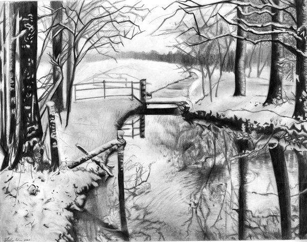 Winter Landscape Charcoal Drawing Landscape Drawing Easy Winter Landscape