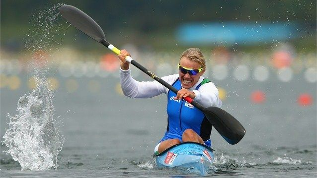 Josefa Idem of Italy competes during the Women's Kayak Single (K1) 500m Sprint Semi Finals