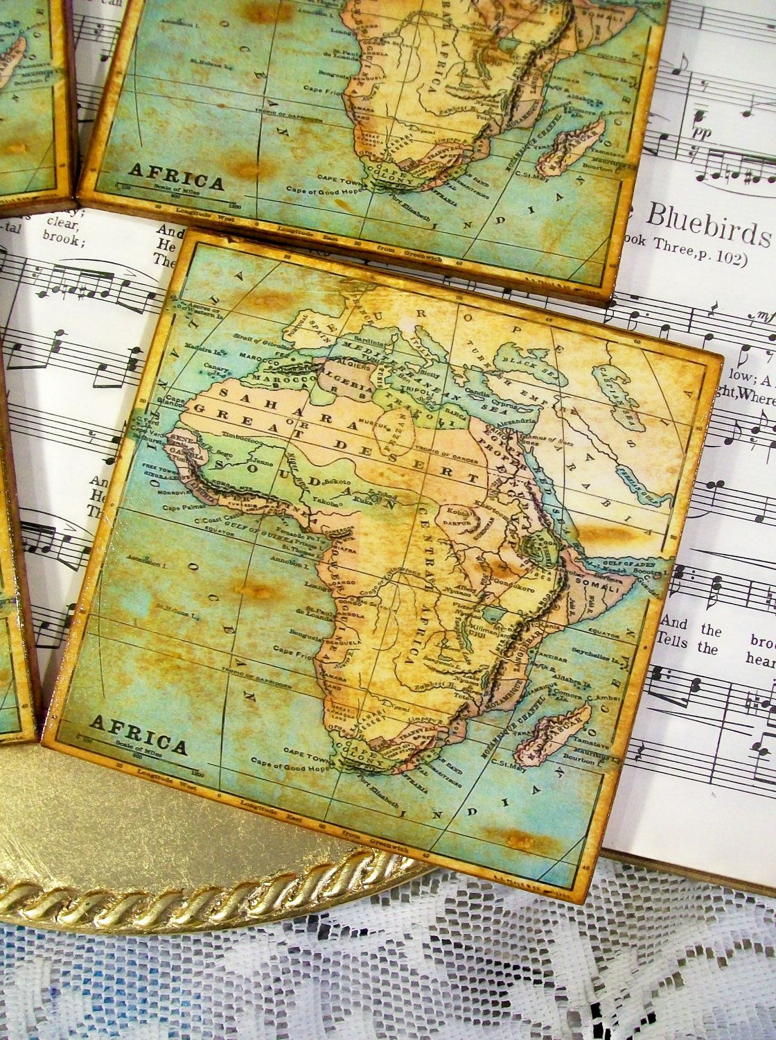Map coasters old world map of africa gold stained and antiqued map map coasters old world map of africa gold stained and antiqued map coaster set of 4 gumiabroncs Choice Image
