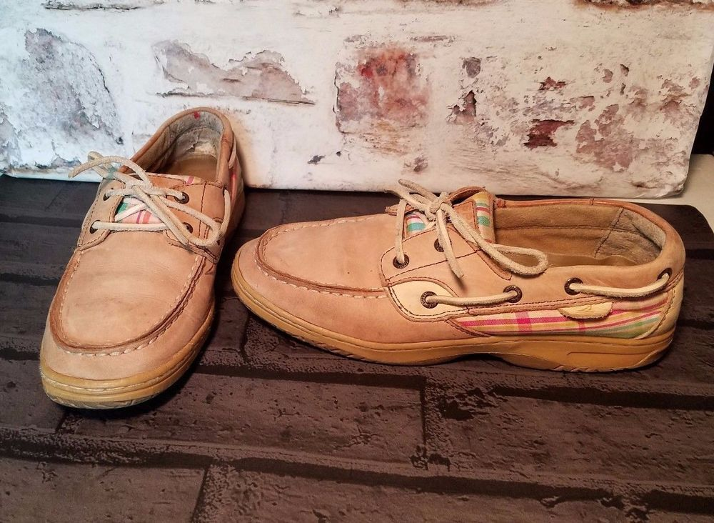 9a37a85ee265 Sperry Top Sider Girl Bluefish Boat Shoes Youth Sz 4.5 Plaid Tan Leather  Casual  Sperry