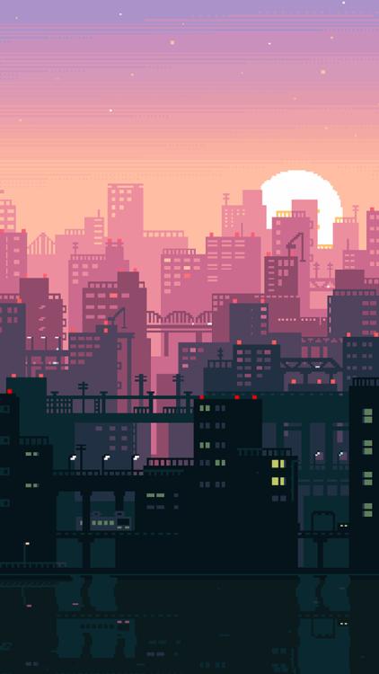 Cityscape Sunset Pixel Art Aesthetic Art Pixel Art