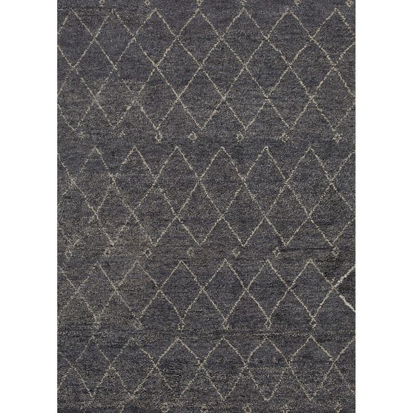 Hand Knotted Geometric Pattern Blue/ Ivory Wool Area Rug (4' x 6') - 420