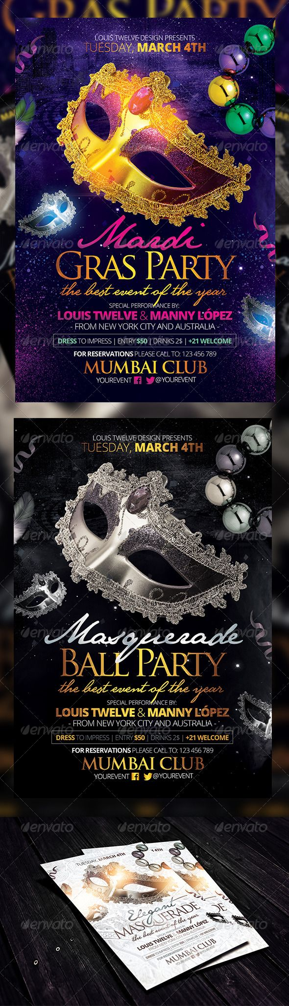 masquerade ball mardi gras party flyers template