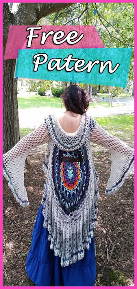 Lotus Mandala Duster Jacket Crochet Free Pattern Cardigan | Crochet ...