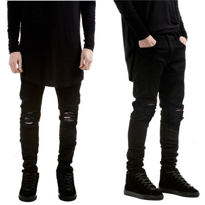 Find More Jeans Information about 2016 New Black Ripped Jeans Men ...