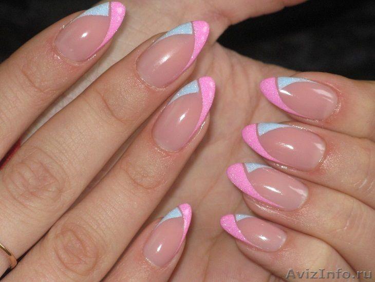 Наращивание ногтей фото френч розовый с