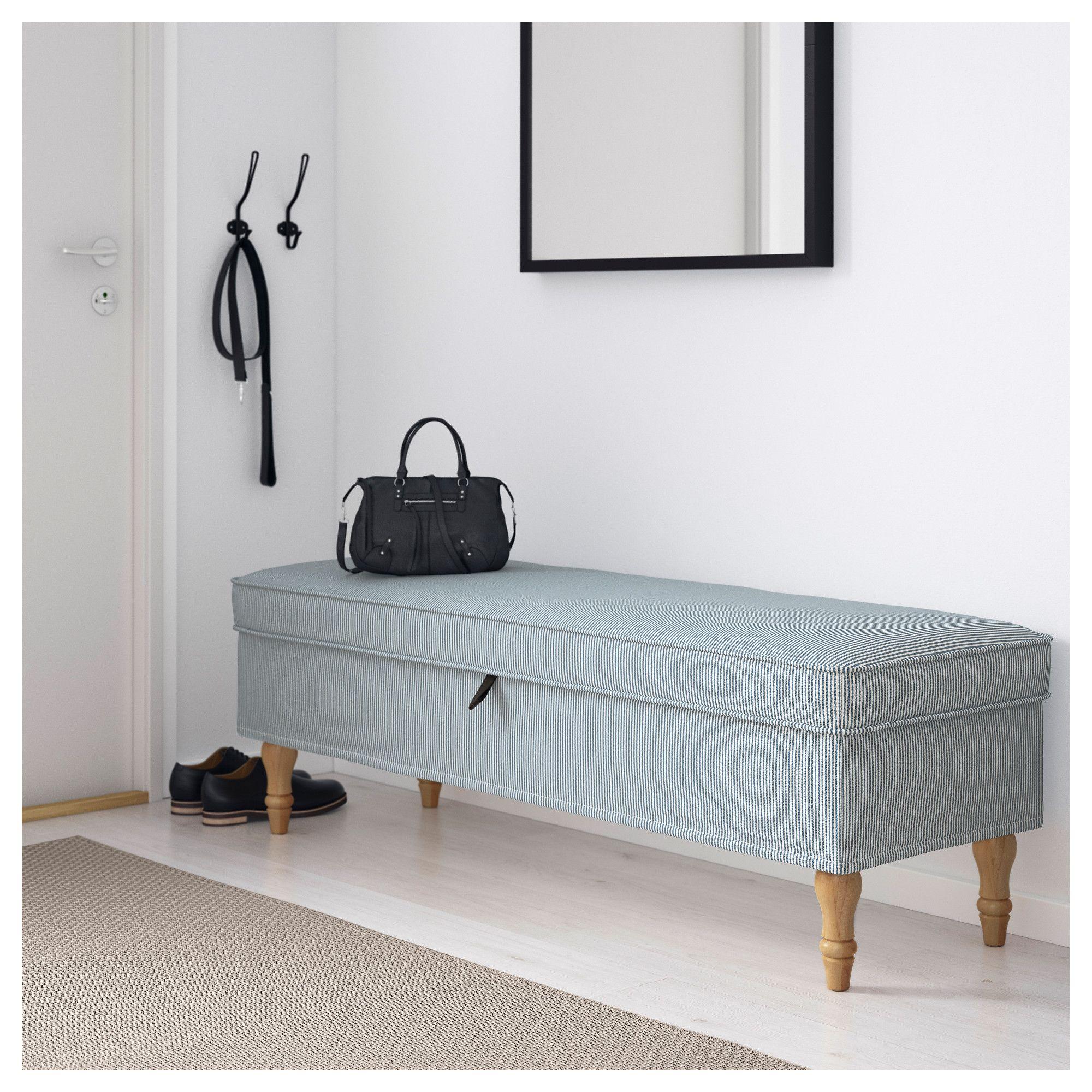 Ikea Stocksund Bench Remvallen Blue White Light Brown Wood
