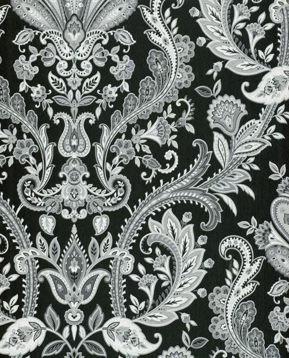 Fabulous Gray Silver White Paisley On Black Wallpaper MD29430 Double Roll Bolts Norwall