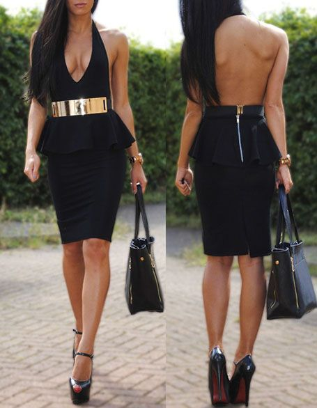 Black peplum halter dress, sky-high stilettos, FAB metallic gold belt...Hot!  Now all I need are those boobs to go complete the outfit Lol