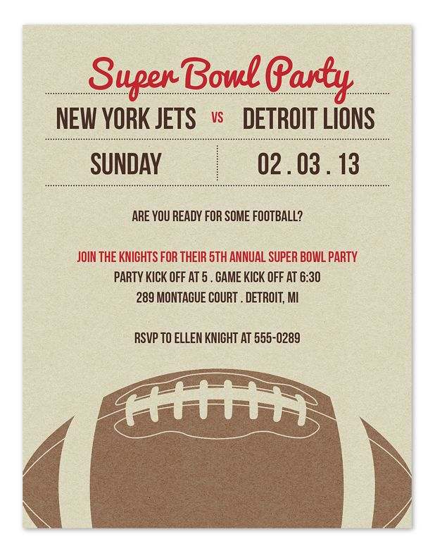 Big Game Lineup SuperBowl party invitation – Superbowl Party Invite