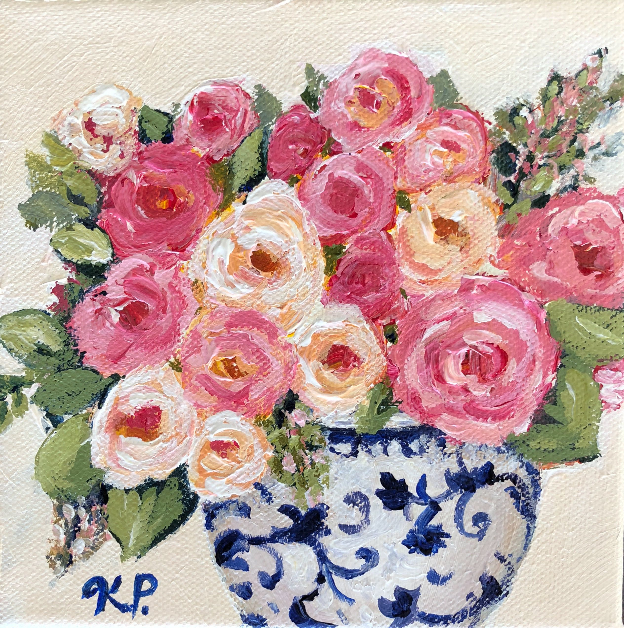 Original Painting Pink Rose Bouquet In Blue And White Vase
