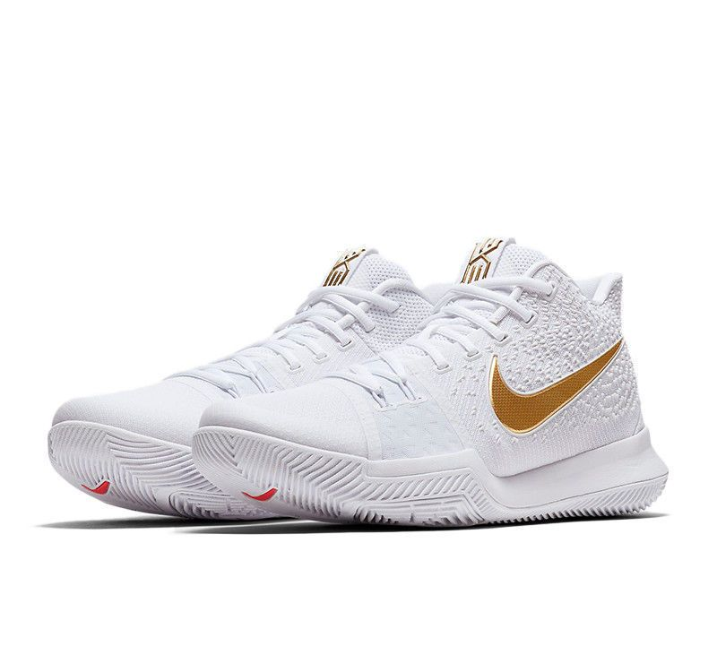 39c8cc4c2694 Nike Kyrie 3 Finals Mens Basketball Shoes 9 White Metallic Gold 852395 902  B  Nike  BasketballShoes