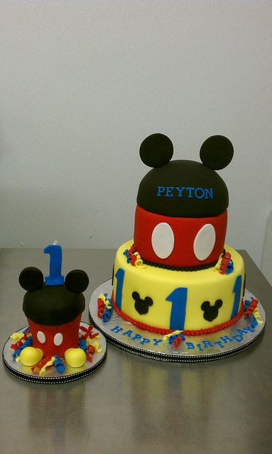 Mickey Mouse First Birthday Cake with matching oversized smash