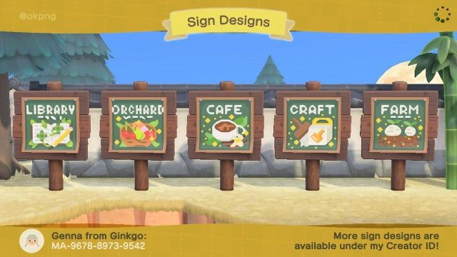 A Library Orchard Cafe Craft Area And Farm Sign To Spruce Up Your Island Acqr In 2020 Animal Crossing Cafe New Animal Crossing Animal Crossing