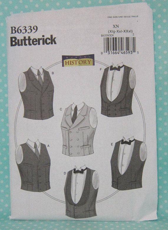Cheapest Shipping. Men\'s Vests Costume Pattern. Butterick 6339 ...