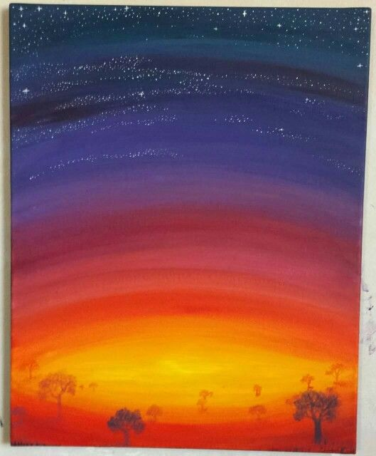 Hand Painted Acrylic On Canvas Blue Purple Red Pink Orange Sunset With Trees A For Jenna By Chelsea Oot