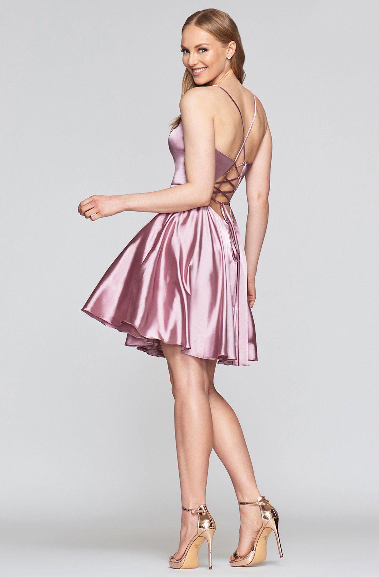 Faviana S10362 Charmeuse Satin V Neck Lace Up Back Cocktail Dress Cocktail Dress Von Maur Dresses Pure Couture [ 2000 x 1314 Pixel ]