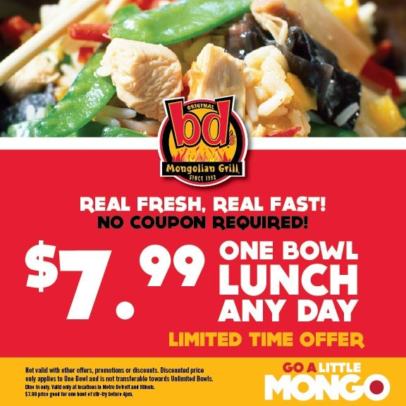graphic about Genghis Grill Printable Coupon identify BDs Mongolian Grill: $7.99 Lunch Bowl Printable Coupon
