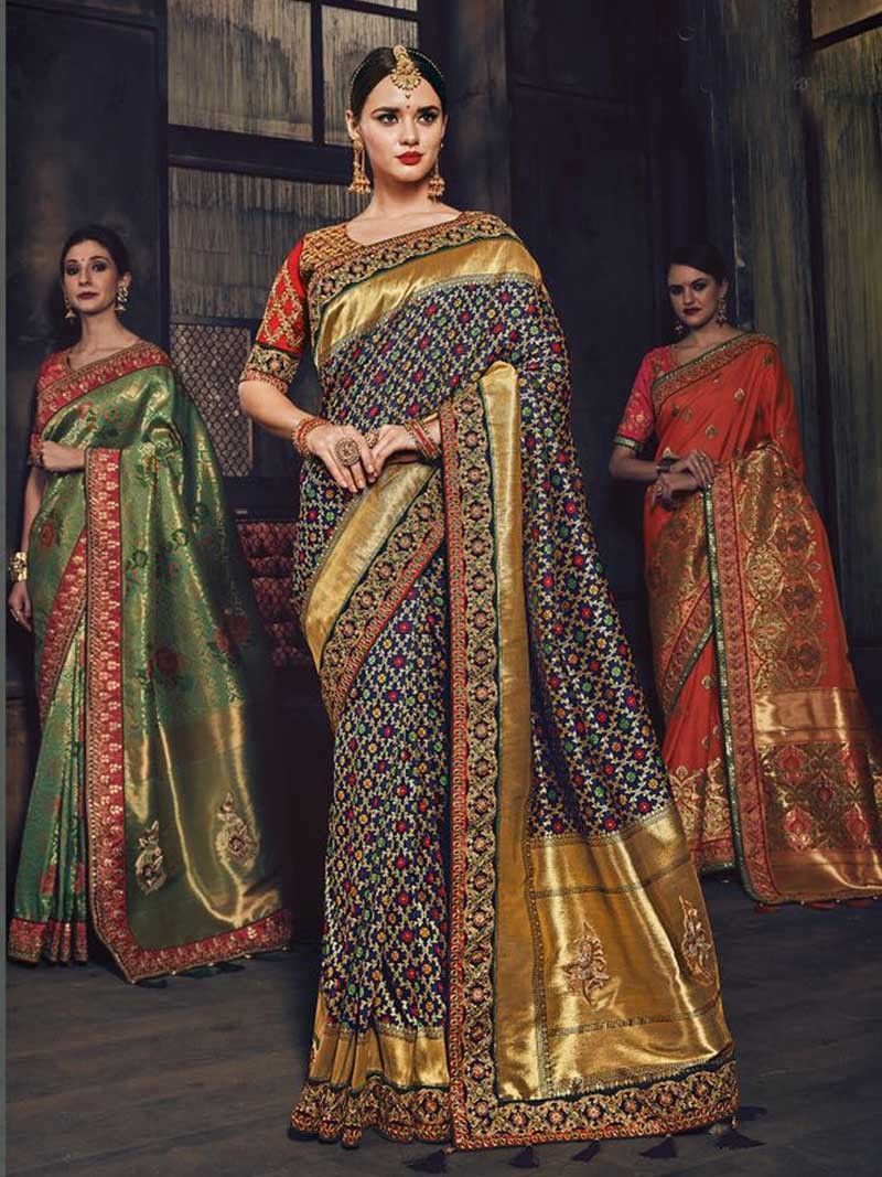 Design of saree blouse multicolorembroideryborderworkbanarasisilksareewithblouse