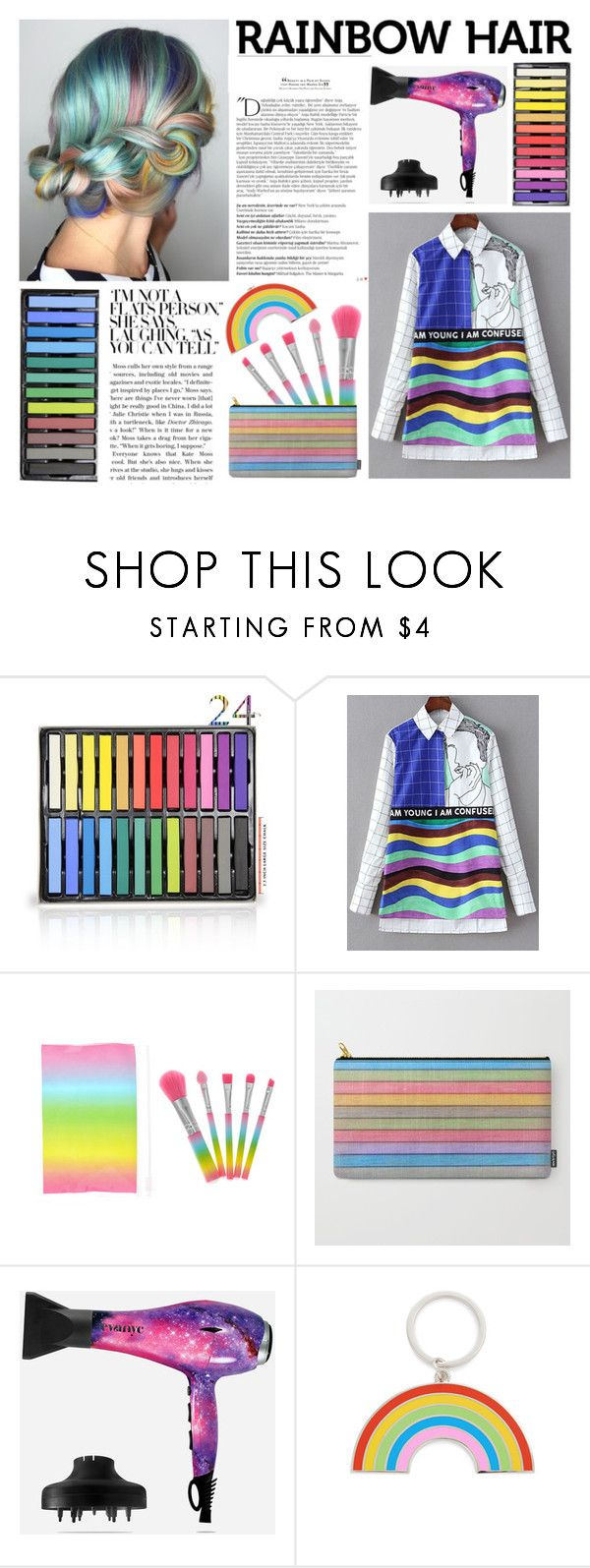 """Rainbow Hair"" by by-jwp ❤ liked on Polyvore featuring beauty, Balmain, Eva NYC, Georgia Perry, Sheinside, rainbowhair and shein"
