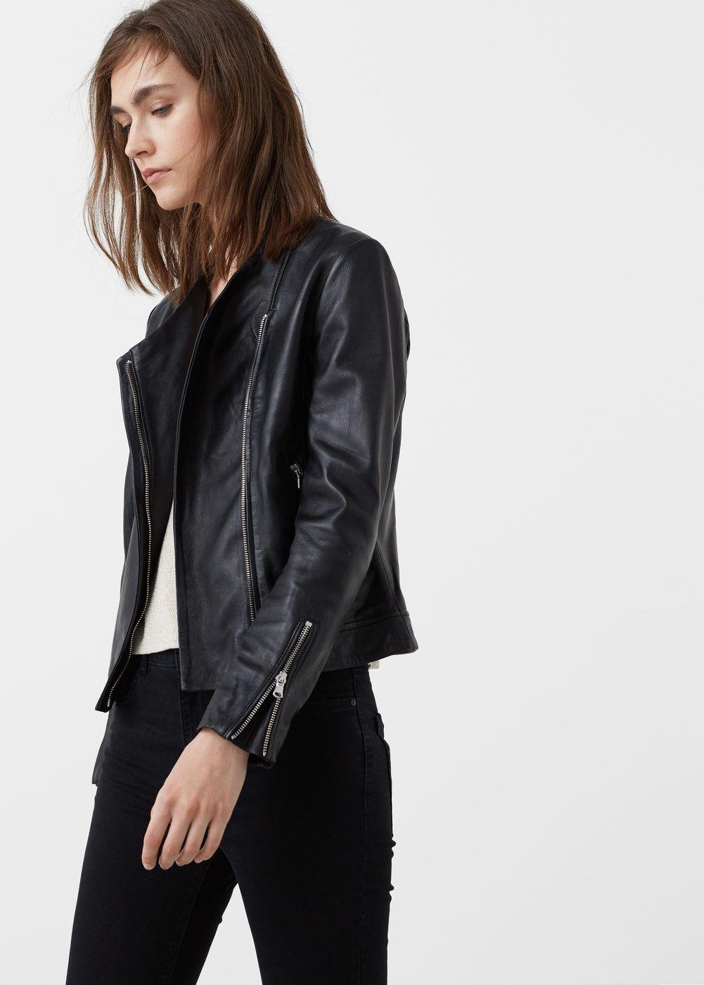 Cazadora Biker Piel Mujer Mango Espana Womens Biker Jacket Jackets For Women Leather Jackets Women [ 1400 x 1001 Pixel ]