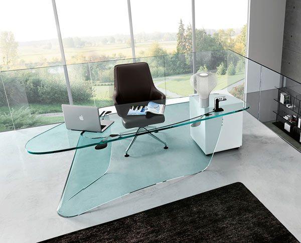 Belas mesas de escrit rio de vidro arquitetura e design for Tipos de adornos para escritorio de oficina