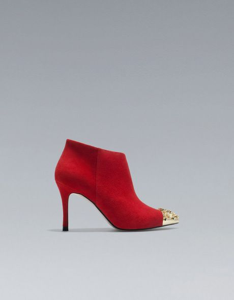 Zara High Heel Ankle Boot with Studded Cap Toe in Red | Lyst