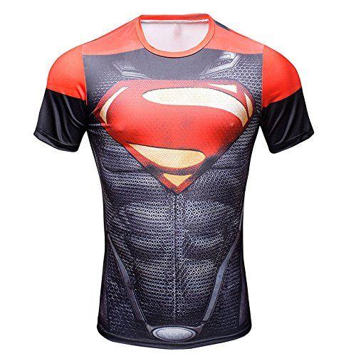 New Superman Costume Slim Fit Superhero Sports Tshirt Athletic
