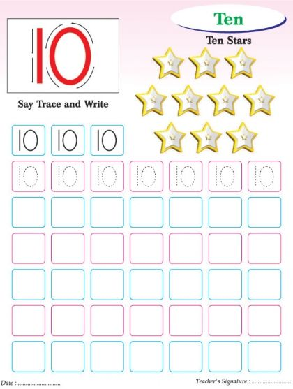 Numbers writing practice worksheet-10 | school | Pinterest