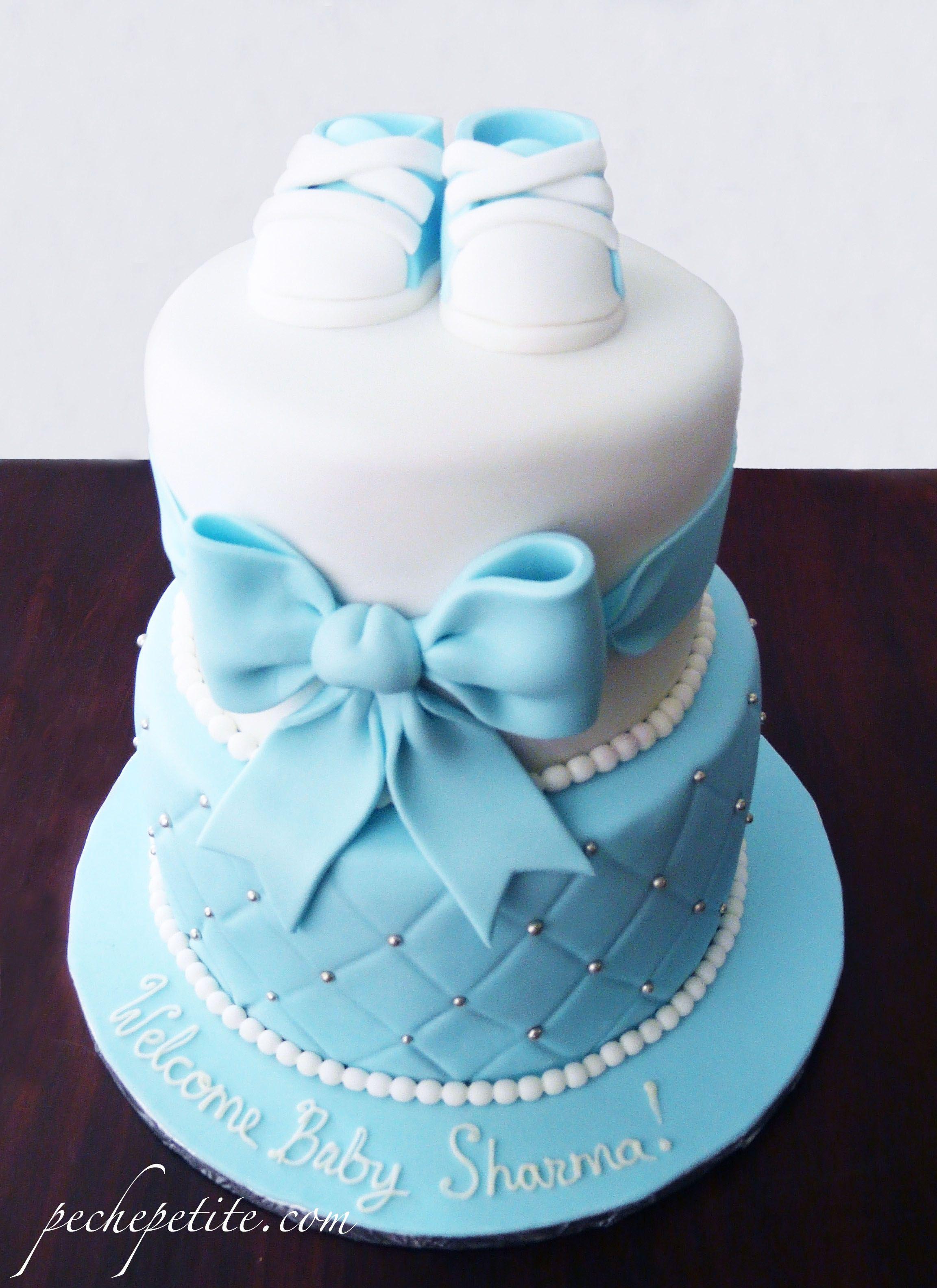 Classic Elegant Baby Boy Shower Cake Pche Petite Baby Shower