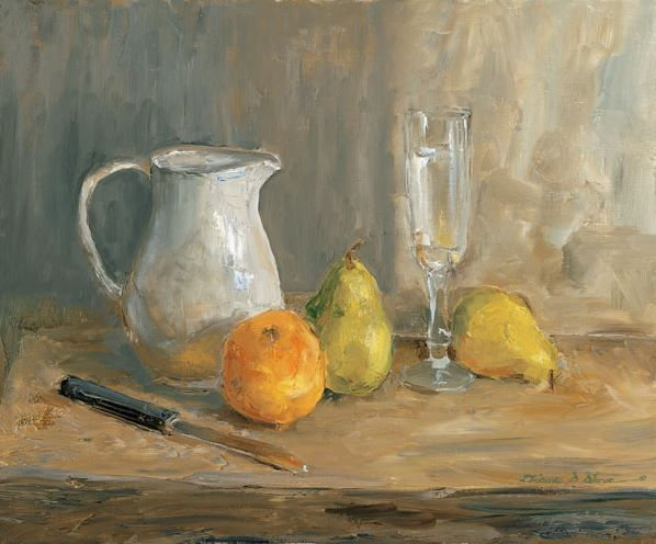 Orange and Pears See more at:  http://www.DianeStoneArt.com #art #oilpainting #paintings